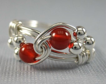 Simple Jewelry Wire Wrapped Ring Carnelian and Sterling Silver Duet