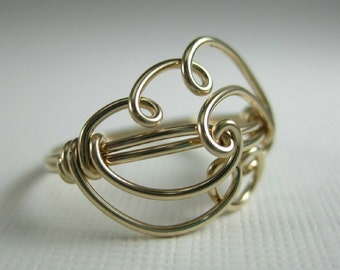 14k Gold Filled Wire Wrapped Cloud Ring