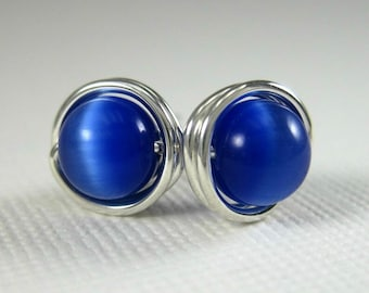 Stud Earrings 6mm Wire Wrapped Sterling Silver and Cobalt Blue Cat's Eye