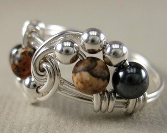 Hematite, Picture Jasper and Sterling Silver Wire Wrapped Vortex Ring