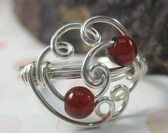 Carnelian and Sterling Silver Wire Wrapped Cloud Ring