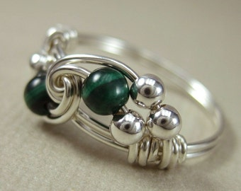 Malachite Ring Wire Wrapped Sterling Silver Duet -- Any Size