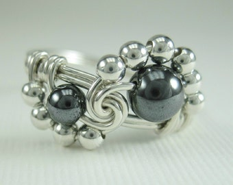 Wire Wrapped Ring Hematite and Sterling Silver Binary