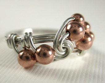 Mixed Metal Wire Wrapped Ring Sterling Silver and Copper Fibonacci