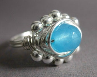 Blue Chalcedony Ring Something Blue Bridal Ring Wire Wrapped Sterling Silver Princess -- Any size