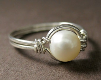 Pearl Ring Modern Pearl Jewelry Wire Wrapped Ring Sterling Silver and Freshwater Pearl O Loop