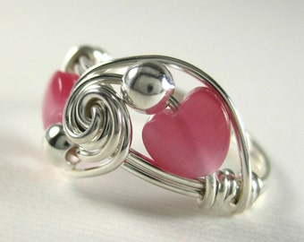 Valentine Jewelry Wire Wrapped Ring Pink Cat's Eye Hearts and Sterling Silver Deluxe Sweetheart Tango
