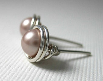 Pearl Stud Earrings 6mm Wire Wrapped Swarovski Glass Pearls and Sterling Silver -- Blush -- Simply Studs -- 28 Colors Available