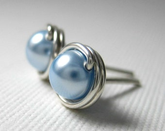 Pearl Stud Earrings 6mm Wire Wrapped Swarovski Glass Pearls and Sterling Silver -- Light Blue -- Simply Studs -- 28 Colors Available