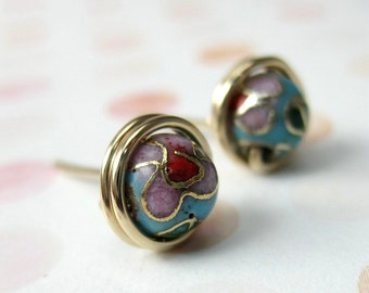 Stud Earrings 6mm Cloisonne 14K Gold Filled Wire Wrapped -- Many Colors Available