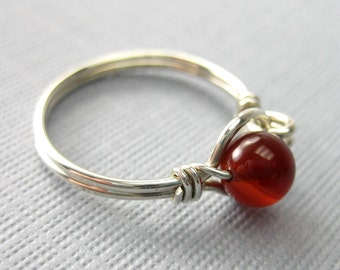 Wire Wrapped Ring Carnelian and Sterling Silver O Loop