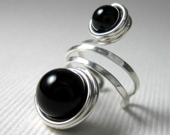 Ear Cuff Black Onyx and Sterling Silver Wire Wrapped -- Shepherd Moon