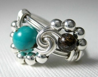 Turquoise Ring Sterling Silver Wire Wrapped Ring Turquoise and Bronzite Binary