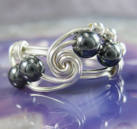Hematite and Sterling Silver Fibonacci Wire Wrapped Ring