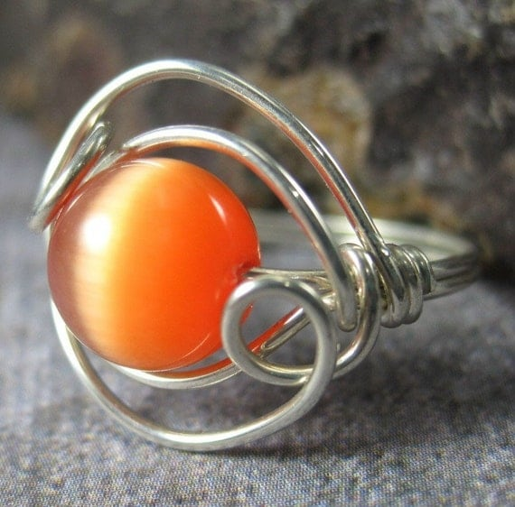 Ready to Ship -- Discontinued -- Large Orange Cat's Eye and Sterling Silver Double Helix Wire Wrapped Ring -- Size 5
