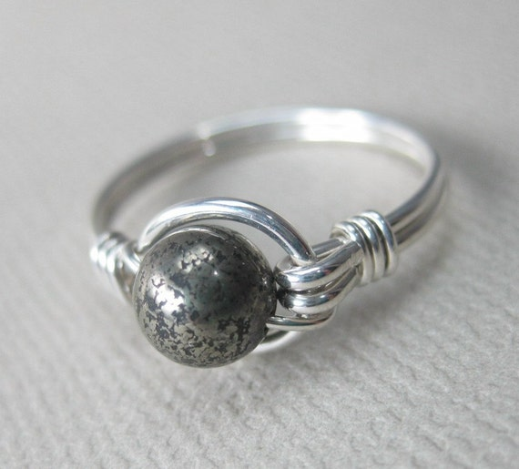 Pyrite  Ring Wire Wrapped Sterling Silver O Loop