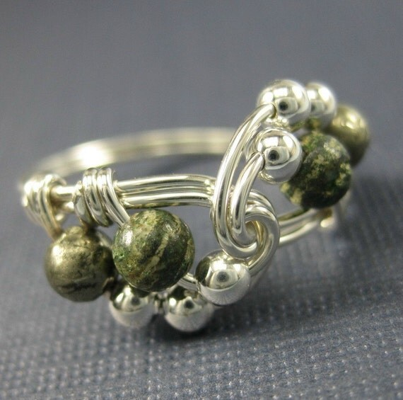 Wire Wrapped Ring Sterling Silver, Green Zebra Jasper and Pyrite Vortex