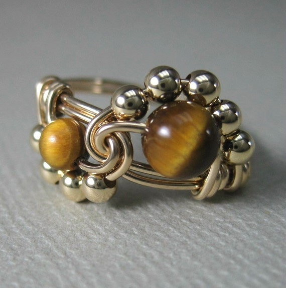 Wire Wrapped Binary Ring in 14K Gold Filled and Tiger's Eye