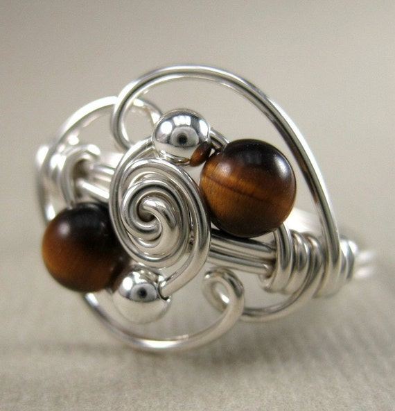 Wire Wrapped Ring Tiger's Eye and Sterling Silver Duality