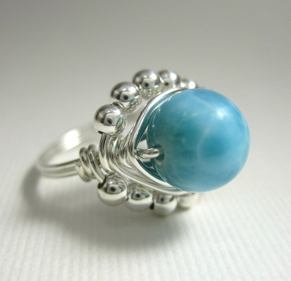 Wire Wrapped Ring Larimar and Sterling Silver Princess -- Something Blue