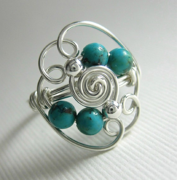 Turquoise Ring Wire Wrapped Ring Sterling Silver and Turquoise Deluxe Cloud 9 -- Blue Skies