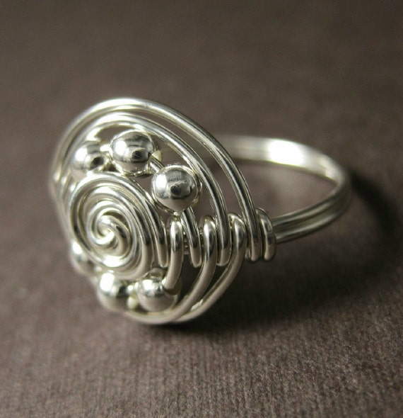 wire wrapped ring sterling silver saturn