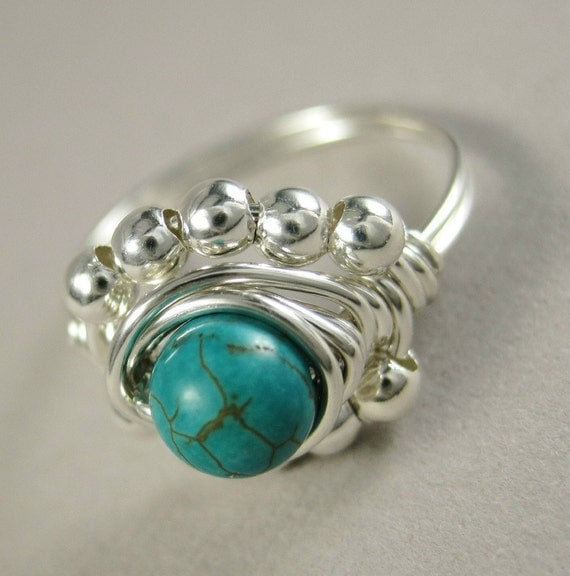 Turquoise Ring Wire Wrapped Sterling Silver Princess Cocktail -- All Sizes Available
