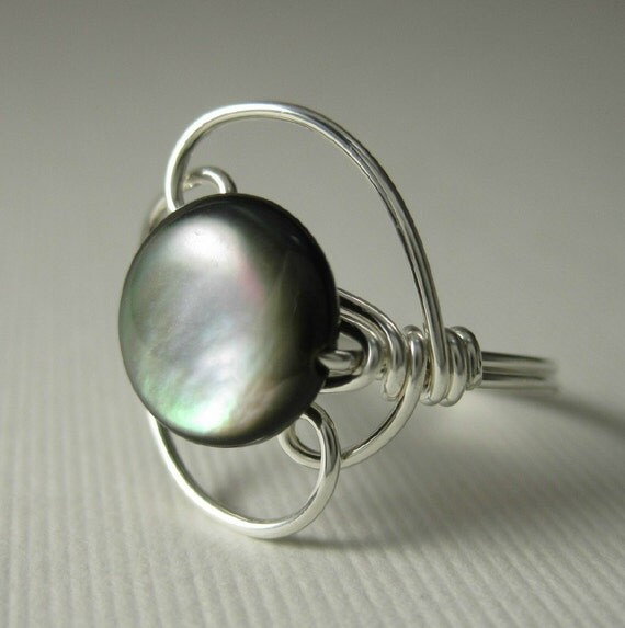Black Shell Ring Wire Wrapped Sterling Silver Phoenix -- Mystic Moon