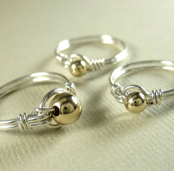 Mother and Daughters Ring Set -- Mixed Metals Wire Wrapped Sterling Silver and 14k Gold Filled O Loop -Set of 3 Rings- Other Beads Available