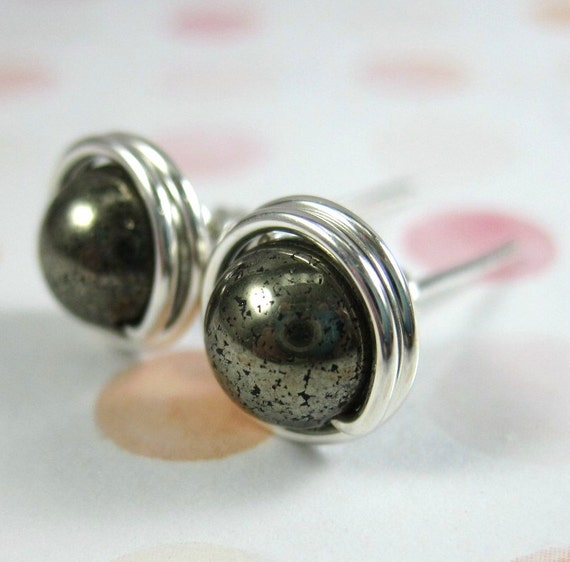 Pyrite Stud Earrings 6mm Sterling Silver Wire Wrapped -- Simply Studs