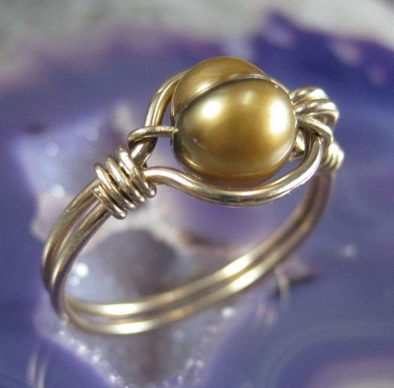 Wire Wrapped Ring Bronze Fresh Water Pearl and 14K GF