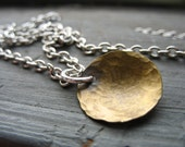 Dome Necklace, Metalwork Brass Dome Pendant Chain Necklace, Handmade Artisan Jewelry, Dome Necklace, Handmade Jewelry