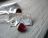Garnet Earrings, Handmade Garnet Earrings, Metalwork Garnet Hammered Silver Earrings, Garnet Jeweler, Birthstone Earrings