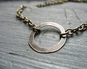 Hoop Necklace, Infinity Antiqued Brass Hoop Chain Necklace, handmade metalwork necklace