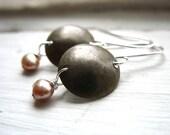 Pearl Earrings, Metalwork Earrings, Peach Pearl Dangle Drop Earrings, Handmade Earrings, Pearl Earrings