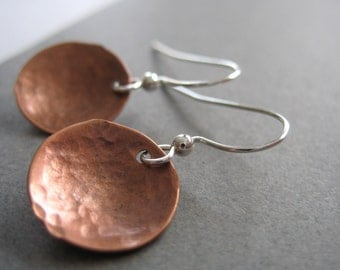 Copper Earrings, Copper Dome Hammered Earrings, Handmade Metalwork Copper Earrings Jewelry