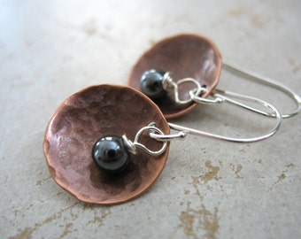 Copper Earrings, Hematite Copper Earrings, Stone Hammered Copper Dome Dangle Drop Earrings, Handmade Metalwork Earrings