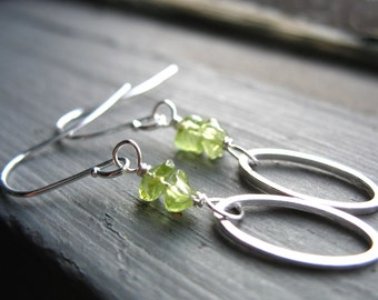 Peridot Earrings, Peridot Stone Oval Hoop Earrings, Handmade Peridot Stone Earrings Jewelry