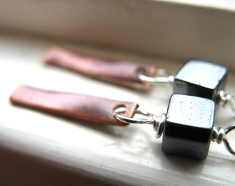 Hematite Earrings, Handmade Metalwork Hematite Stone Copper Dangle Drop Earrings