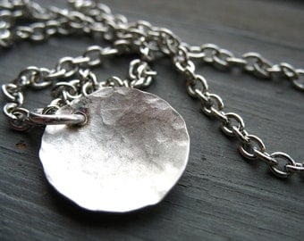 Silver Dome Necklace, Handmade Metalwork Silver Dome Chain Pendant Necklace Jewelry