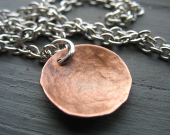 Copper Necklace, Hammered Copper Dome Chain Necklace, Handmade Metalwork Copper Necklace, Pendant Necklace, Copper Jewelry