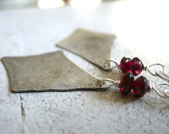 Garnet Earrings, Garnet Stone Earrings, Handmade Metalwork Garnet Gemstone Chandelier Earrings, Garnet Jewelry