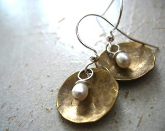 Pearl Earrings, Freshwater Pearl Dome Dangle Drop Earrings, Metalwork White Pearl Earrings, Pearl Jewelry, White Pearl Earrings