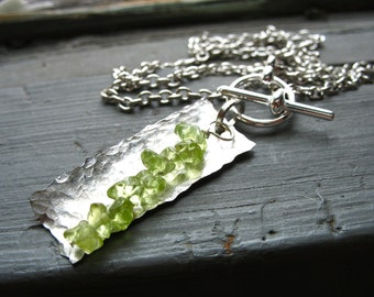 Peridot Necklace, Peridot Stone Hammered Rectangle Necklace, Peridot Handmade Metalwork Necklace
