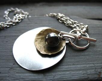 Hematite Stone Metalwork Necklace, Hematite Stone Dome Oxidized Silver Disk Necklace, Handmade Jewelry