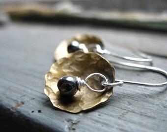 Hematite Earrings, Dome Earrings, Hematite Stone Metalwork Earrings, Handmade dangle drop Earrings, Gemstone Jewelry, Luminous Creation