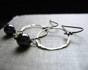 Hematite Earrings, Hematite Stone Hoop Earrings, Handmade Metalwork Stone Hematite Earrings