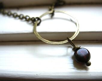 Garnet Necklace, Garnet Stone Infinity Hoop Chain Necklace, Handmade Birthstone Necklace, Garnet Jewelry