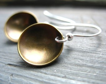 Brass Dome Earrings, Metalwork Dome earrings, Handmade Artisan Industrial Jewelry