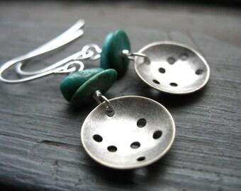 Turquoise earrings, Turquoise Stone Metalwork Earrings, Handmade Dangle Drop Gemstone Earrings, Turquoise Jewelry